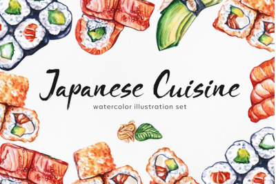 Japanese Cuisine. Watercolor food set illustrations.