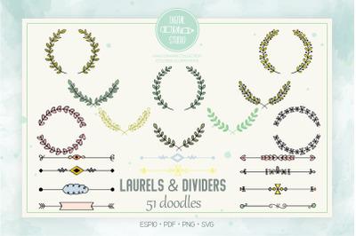 Colored Laurels & Divider | Hand Drawn Floral Border, Leafy Wreath