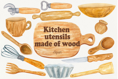 Kitchen wood utensils baking clipart