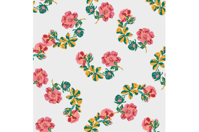 Hand drawn flowers roses branch, leaves seamless pattern abstract back