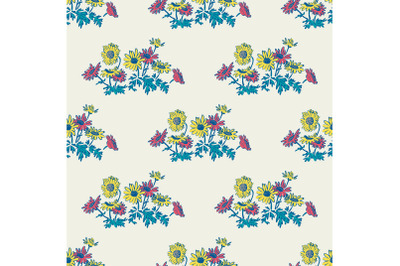 Hand drawn flowers daisy, leaves seamless pattern abstract background