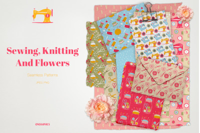 Sewing, Knitting and Flowers Seamless Patterns