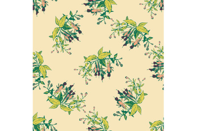 Hand drawn flowers fuchsia branch, leaves seamless pattern abstract ba