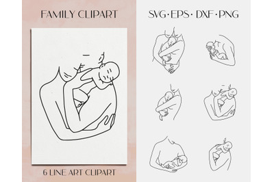 Family clipart. Mom and newborn svg clipart. Dad and baby vector
