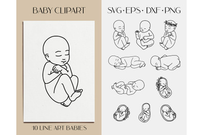 Newborn baby svg clipart. Embryo, fetus. New baby line vector art