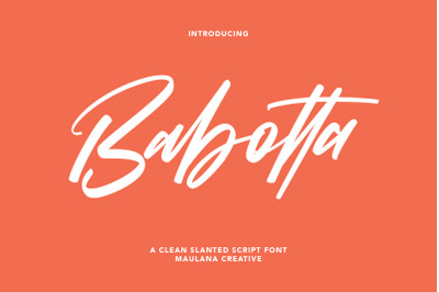 Babotta Clean Slanted Script Font