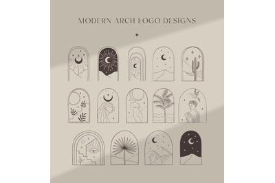 Bohemian Modern Arch Logo Designs. Nude, Body, Breast. Frame, Border.