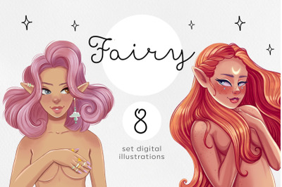 Fairy. Magic girl.Art set digitalillustrations.
