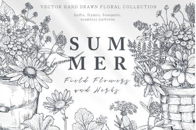 Summer field flowers vector set