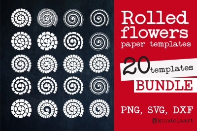 Rolled Flower SVG. Rolled Flower paper template. Paper Cut Flower