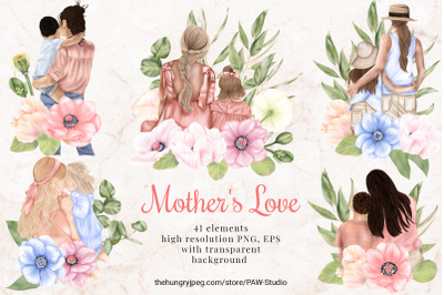Mother's Day Clipart Mother Child Daughter Son Anemone Poppy Flowers