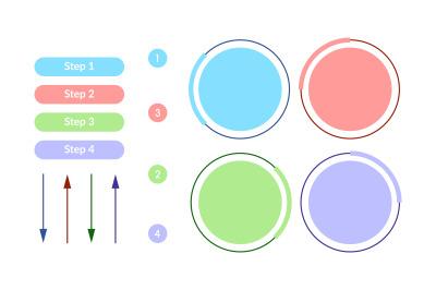 Light color round vector infographic elements set