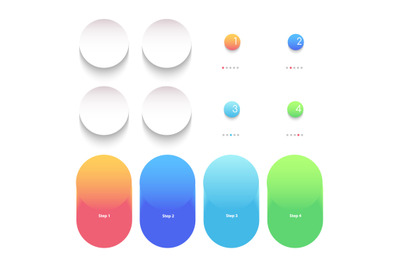 Round bright gradient vector infographic elements set