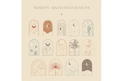 Colorful Bohemian Modern Arch Logo Designs Collection. Frame, Border.