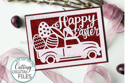 Easter card with truck svg Happy Easter cut out papercut
