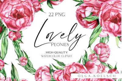 Watercolor Peony clipart, Watercolor  pink floral borders png invites
