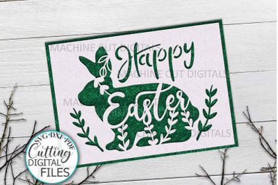 Bunny Easter card svg cut out template papercutting