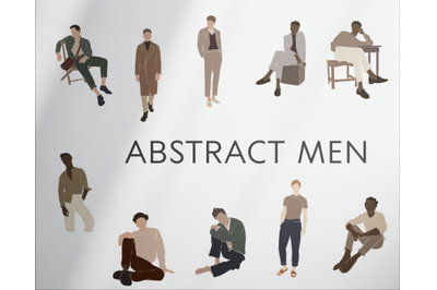 Men clip art, abstract set, people in vector,black male , african