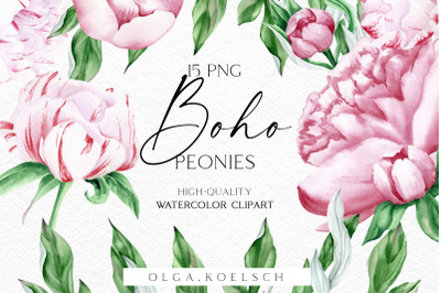 Watercolor pink peonies clipart, Watercolor boho flowers png, Floral