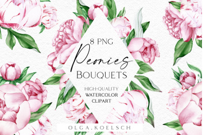 Watercolor pink peonies clipart, Watercolor boho floral frames png