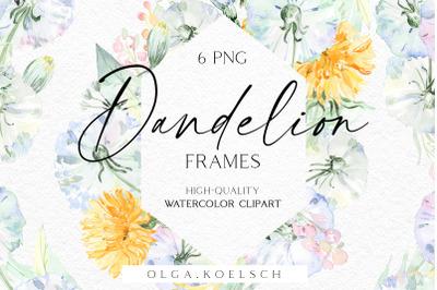 Watercolor boho floral frame clipart, Dandelion flowers borders png