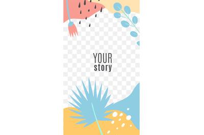 Stories modern editable template. Tropical botanical frame, palm leave