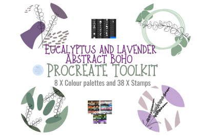 Eucalyptus & Lavender Abstract Toolkit Procreate 38 brushes 8 palettes