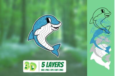 3D Dolphin SVG