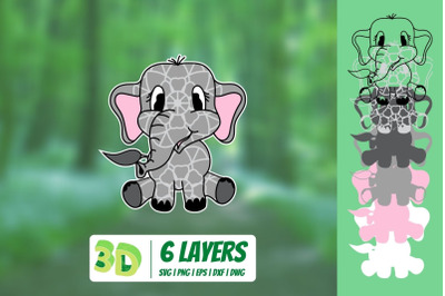3D Elephant SVG