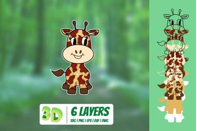 3D Giraffe SVG