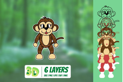 3D Monkey SVG