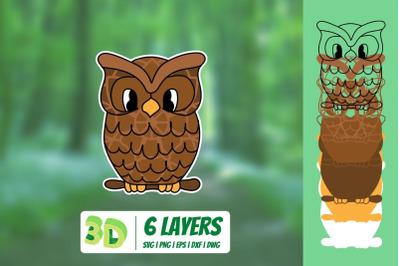3D Owl SVG