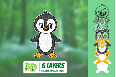 3D Penguin SVG
