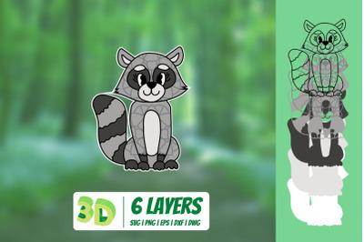 3D Raccoon SVG