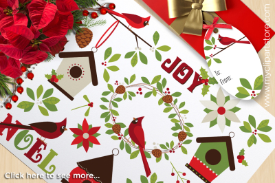 Christmas - Red Cardinals Vector Clipart