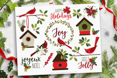 Christmas Cardinals Clipart, Farmhouse, Vector, Sublimation, SVG