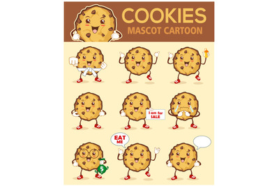cookies mascot cartoon in pack