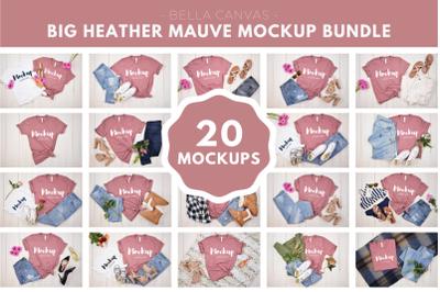 Big Heather Mauve Tshirt Mockup Bundle
