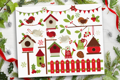 Christmas - Red Robin Vector Clipart