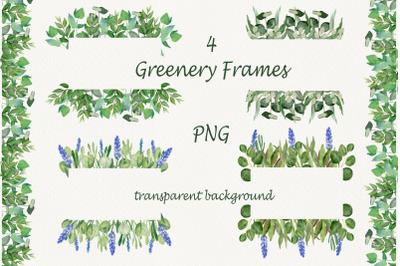 Watercolor frame eucalyptus leaves, lavender plant