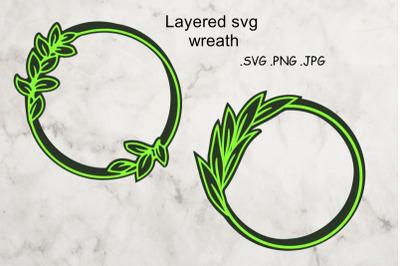 Layered SVG Wreath - Multilayered Floral SVG - sSVG Cut File