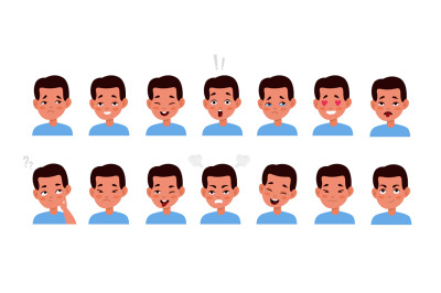 Kid face emotions set. Little cute boy different facial expressions, c