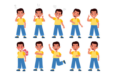Boy emotions. Child character in emotional poses, face expressions, te