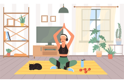 Woman sports in room. Meditation in lotus position, female doing physi
