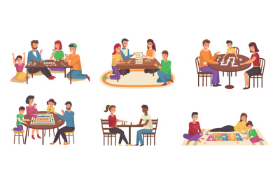 People board games. Happy families play chess and poker, domino and pu