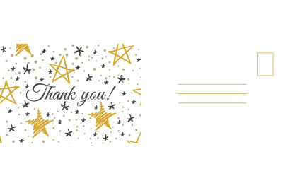Thank you postcard. Abstract background with golden and gray hand draw
