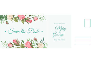 Wedding postcard. Romantic card, elegant pink rose flowers and leaves