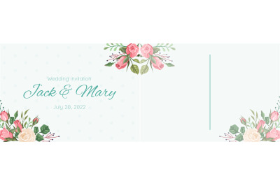 Wedding postcard. Elegant pink rose flowers and leaves, romantic card