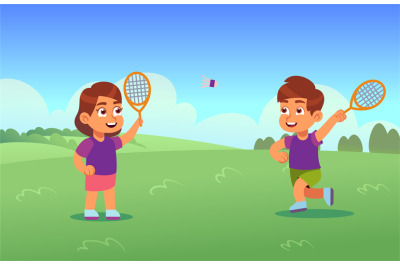 Children play badminton. Happy boy and girl with racket and shuttlecoc