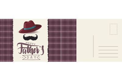Happy fathers day postcard. Abstract checkered background with mustach